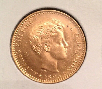 1896 Spanish Gold - BU - The Boy King Alfonso XIII 20 p - 6.45g  NO RESERVE!!!
