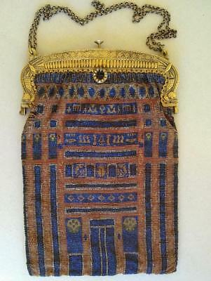 Vintage French Deco 1920s Egyptian Revival Beaded Purse France Flapper Bag