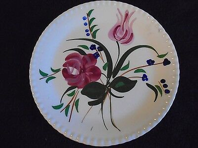 Blue Ridge Pottery Blue Bell Bouquet Dinner Plate Hand Painted Closed Flower