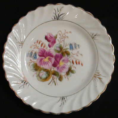Set of 10 Hand Coloured Floral French Porcelain Bread Plates Circa 1890 - 1910