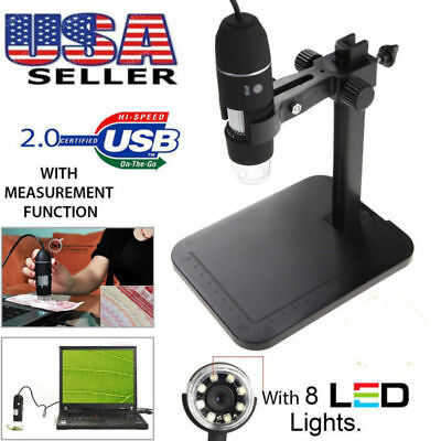 2MP 8 LED USB Digital Camera Microscope Magnifier Lift Stand 1000X 5V DC Video