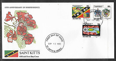 ST KITTS 1993 Independence CRICKET BAT BALL STUMPS MAP SHIP MUSIC Set 3v FDC