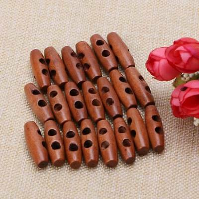 50Pcs Wood Sewing Horn Toggle Buttons Coat Clothes Accessories 2 Holes DIY Craft