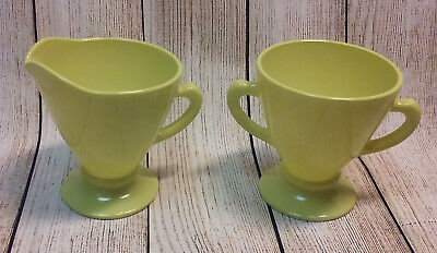 Hazel Atlas Ovide Yellow Chartreuse Creamer and Sugar Bowl