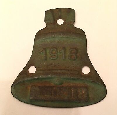 Vintage 1918 California Mission Bell License Plate Tag Topper car registration