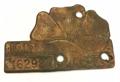 Vintage 1917 California Poppy License Tag Plate Topper automobile registration