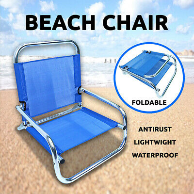 Aluminium Beach Chair Foldable 100kg Textilene Waterproof, Outdoor Bench