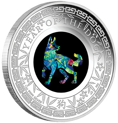 2018 Australian Opal Lunar Series -Year of the Dog 1oz Silver Proof Coin