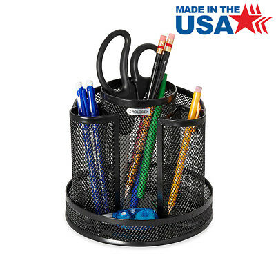 Mesh Desk Sorter Organizer Pen Pencil Cup Holder Storage Tray Rotating Black NEW