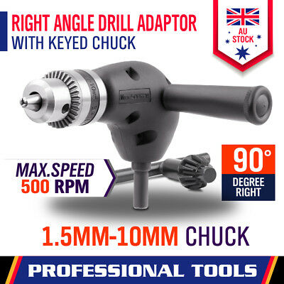 "90° Degree Right Angle Drill Attachment  1/4"" Drive Adapter With Chunk Key"