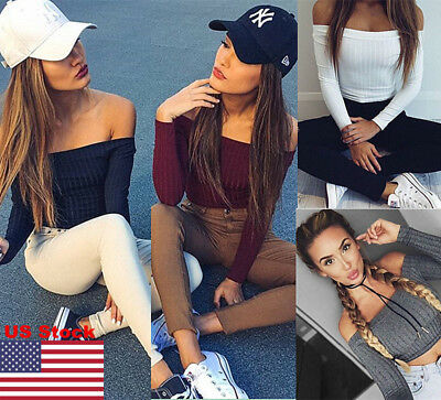 US Women Long Sleeve Off Shoulder Crop Top Knit Shirt Casual Tee Blouse Sweater