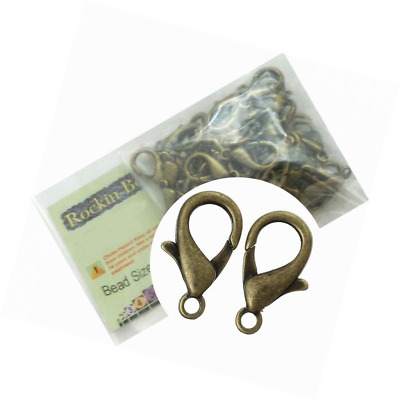 Rockin Beads Brand, 48 Antique Brass Plated Lobster Claw Jewelry Findings Clasps