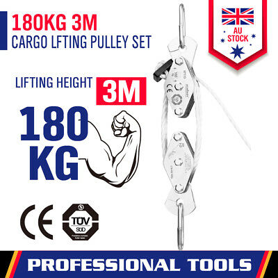New 180kg Loading Cargo Lifting Pulley 20M Long Rope Winch Hoist Max Height 3M