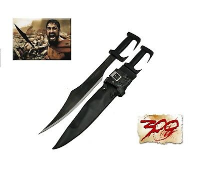 "300 Spartan Sword Black Blade 28.8""  with Heavy Duty Leather Sheath"