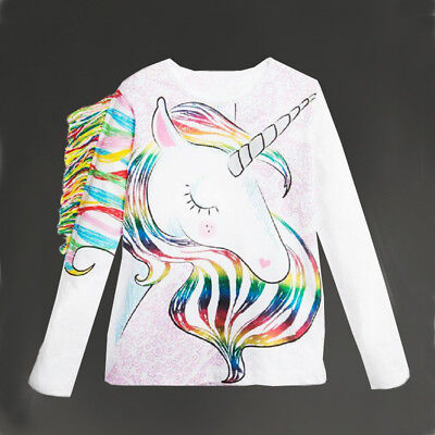 US Stock Toddler Kids Girls Pattern Unicorn Long Sleeve Tops T-shirt Clothes