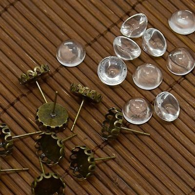 10 Sets Antique Bronze Brass Cup Earring Posts Setting Bezel & 10mm Glass Cover