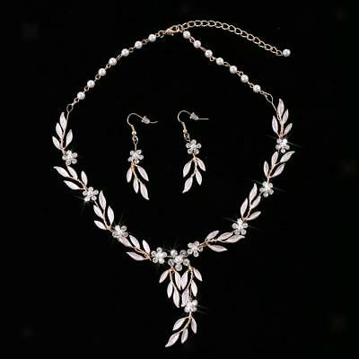 Charm Crystal Pearls Leaf Necklace Earring Wedding Evening Party Jewelry Set