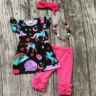 US Stock Toddler Baby Kids Girls Unicorn Tops Dress Pants Outfits Set Clothes