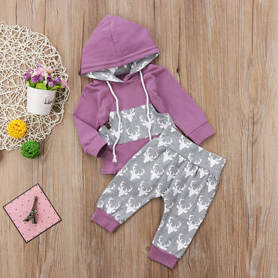 Newborn Baby Boy Girl Deer Romper Hooded Tops Pants 2Pcs Outfits Set Clothes USA