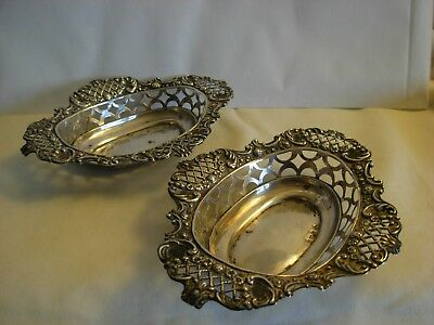 Pair Of Antique English Sterling Silver Open Work Bowls- Birmingham 1902- By M.c