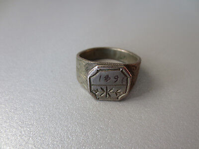 GORGEOUS ANTIQUE HAND MADE CARVED SILVER ALLOY FOLKLORE RING Year 1891 - RARE