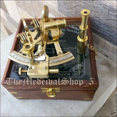 Antique Nautical Marine Brass Sextant-Decorative Vintage Sextant With Wooden Box