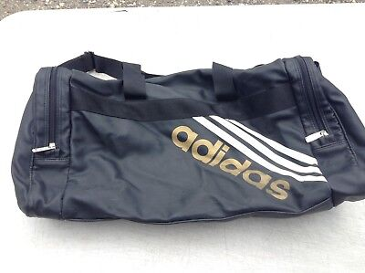 Adidas Gym Sports Kit Duffel Bag Training Holdall Weekend Gold Writing Black