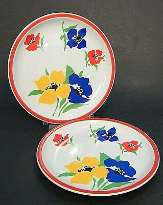 "2 Pc LOT BLOCK ANEMONE 8"" SALAD SiDE PLATE ViSTA ALEGRE YELLOW RED BLUE FLOWER's"