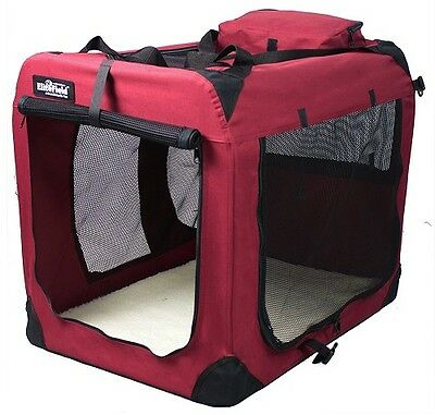 Pet Travel Accessories 3 Door Folding Dog Crate Cat Soft Carrier Maroon Home New