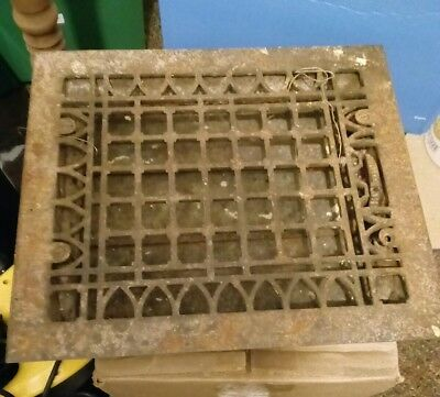 Antique Cast Iron Heat Grate Floor Vent Register Vintage 14x12