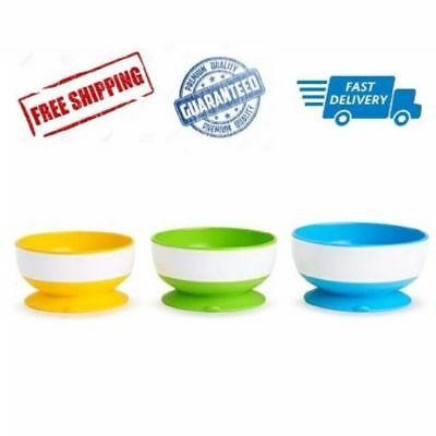 3pcs Suction Cup Bowls Munchkin Stay Put Bowl Infant Feeding Baby Food BPA Free