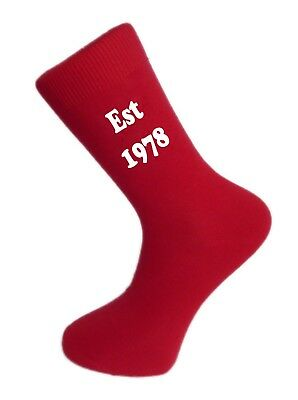 Est 1978 Red Socks. Red Birthday Celebration Cotton Novelty Socks