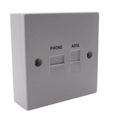 Solwise BT Telephone ADSL Filtered RJ11 Phone and Network Adaptor Faceplate