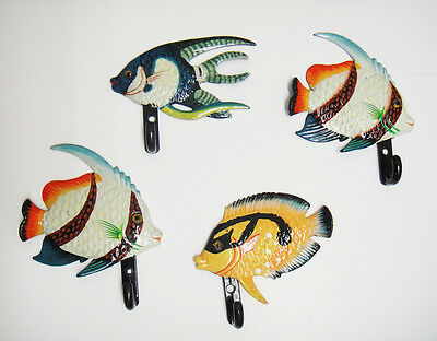 Vintage Hand Painted FISH Wall Coat Hook RARE LOT 4pcs Plastic NEW