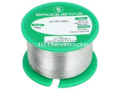 ECO3-07//01H Solder Sn97Cu3 wire 0.7mm 100g Flux No Clean ECO3B2.107MM100GR