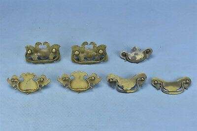 Antique MIXED LOT of 7 CAST CHIPPENDALE DRAWER HANDLE PULL HARDWARE #04624