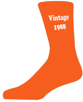 Vintage 1988 Orange Socks. Orange Birthday/ Celebration Cotton Novelty Socks