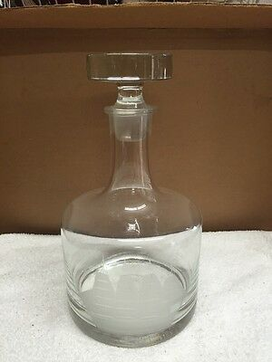 Vintage Lerge Glass Decanter Bottle With Etched Ship And Sails