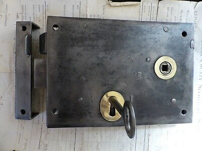 "8"" x 5 3/4"" Victorian Cast Iron & Brass Door Rim Lock, Key & Keep"