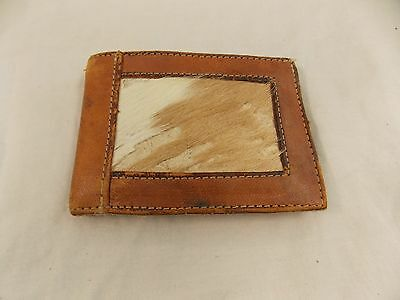 VINTAGE LEATHER Animal Hair WALLET Billfold RETRO