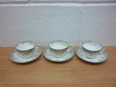 3  W A A & Co Perth cups and saucers white blue floral antique?
