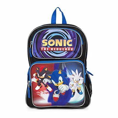 "Sonic the Hedgehog Large Backpack w/Silver Shadow 16"" School Bag BOY Gift kids"