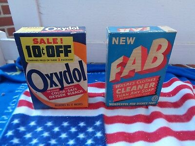 Vintage Lot Of 2 Oxydol & Fab Soap Powder Detergent Box Advertising