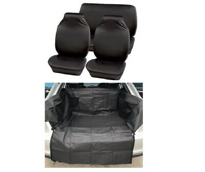 FULL SET BLACK SEAT COVERS + HEAVY DUTY BOOTLINER FOR Dacia Lodgy 2012-2016