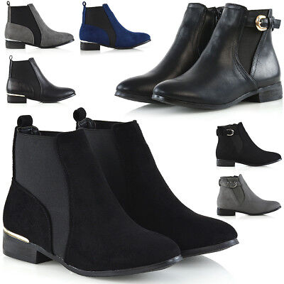 Womens Pixie Ankle Booties Elasticated Gusset Ladies Flat Casual Chelsea Boots