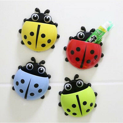 Bathroom Ladybug Toothbrush Holder Suction Ladybird Toothpaste Wall Sucker