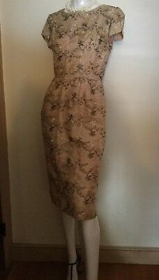 VTG 40~50s Sheath Sheer Embroidered Floral Ivory Taupe Pencil Dress Faille Lined