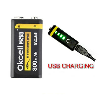 OKcell 9V 800mAh USB Rechargeable Lipo Battery for RC Helicopter Model Microphon