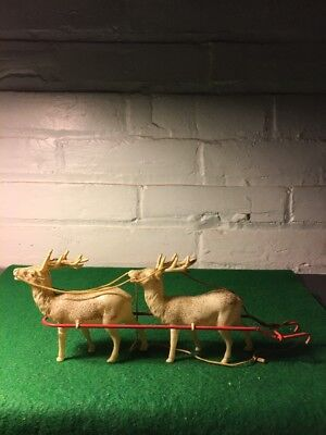 Two Cellulois Reindeer And Harness For Sled Handpainted Christmas Reindeer 1950