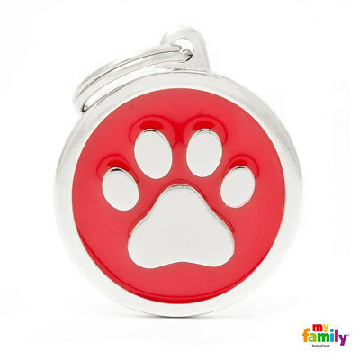 white & red paw Pet Dog ID tag Personalised Engraved Steel Enamel Tag Italian